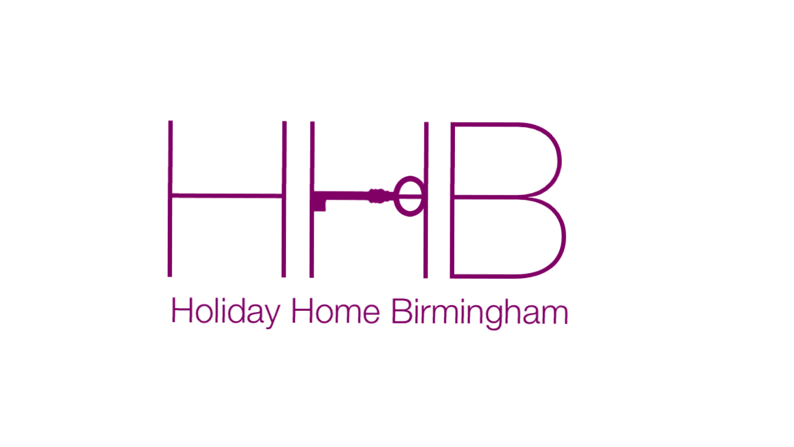 Holiday Home Birmingham Logo with three cerise letters and a cerise key